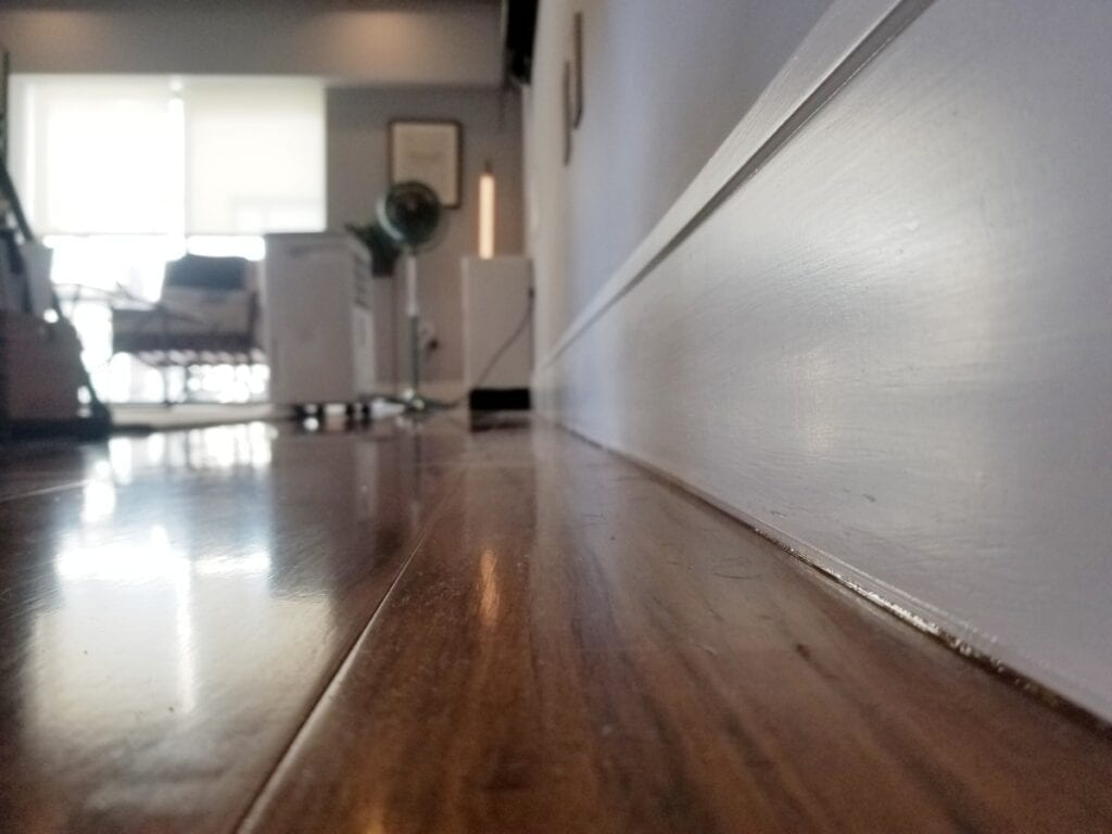 Pest proofing a home from mice and roaches by sealing cracks in baseboards